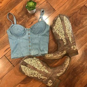 VINTAGE jean bustier top STAGECOACH MUST HAVE